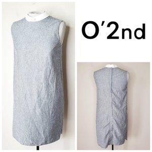 ANTHRO O'2ND 100% Cotton Striped Collared Dress